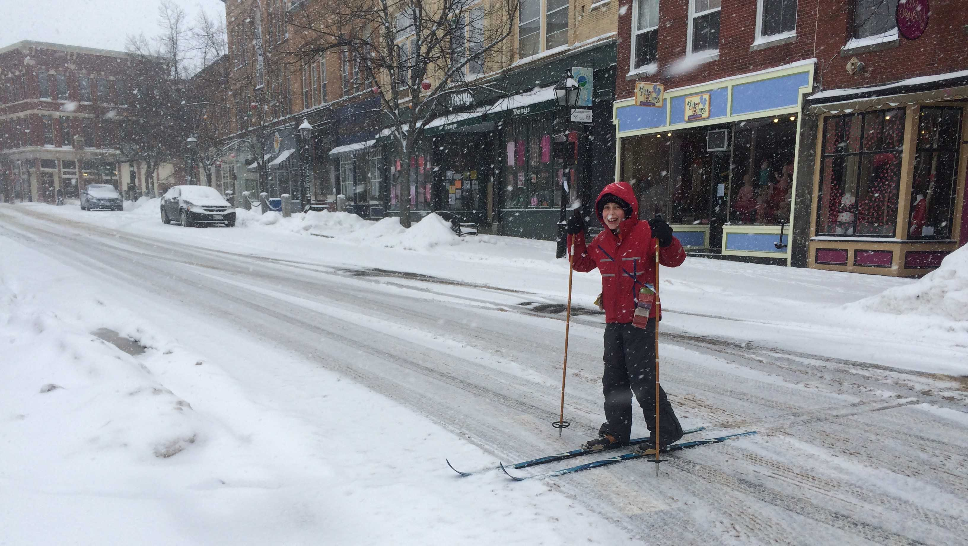 Isaac Ensel from Bath cross county skiing on Main Street.