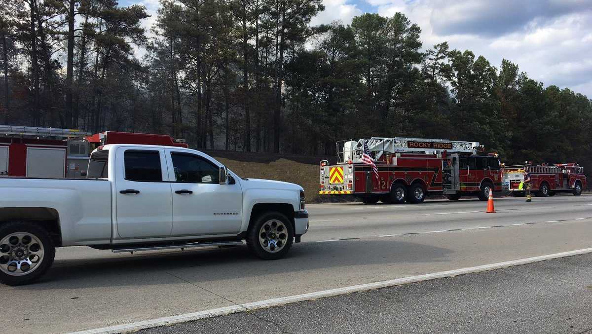 Brush fire along I-459 near Acton Road