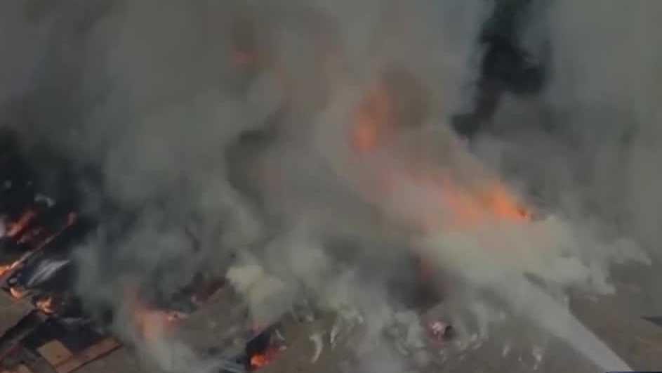 Burning roof