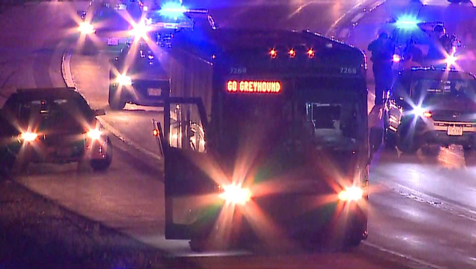Person in custody after police chase Greyhound bus on interstate