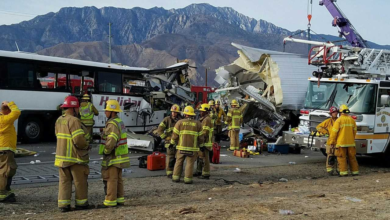 Bus crash Interstate 10 in Palm Springs