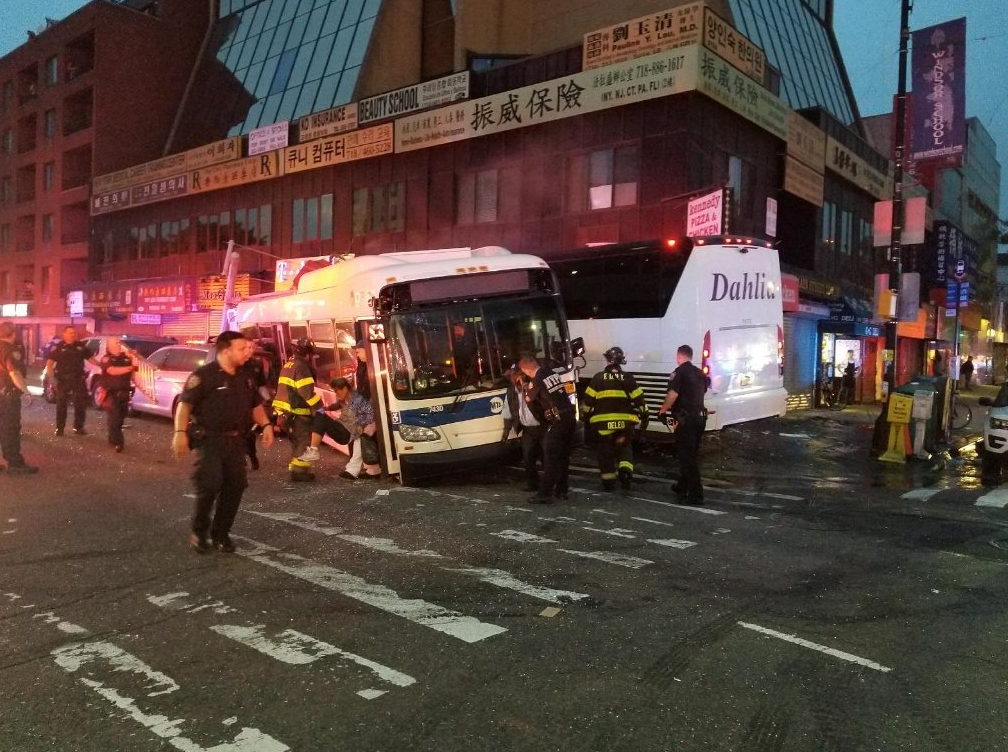 Two killed, 16 injured after MTA bus, tour bus collide in Queens
