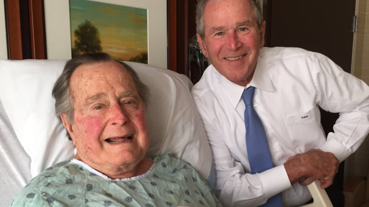 George W. visits H.W. in hospital