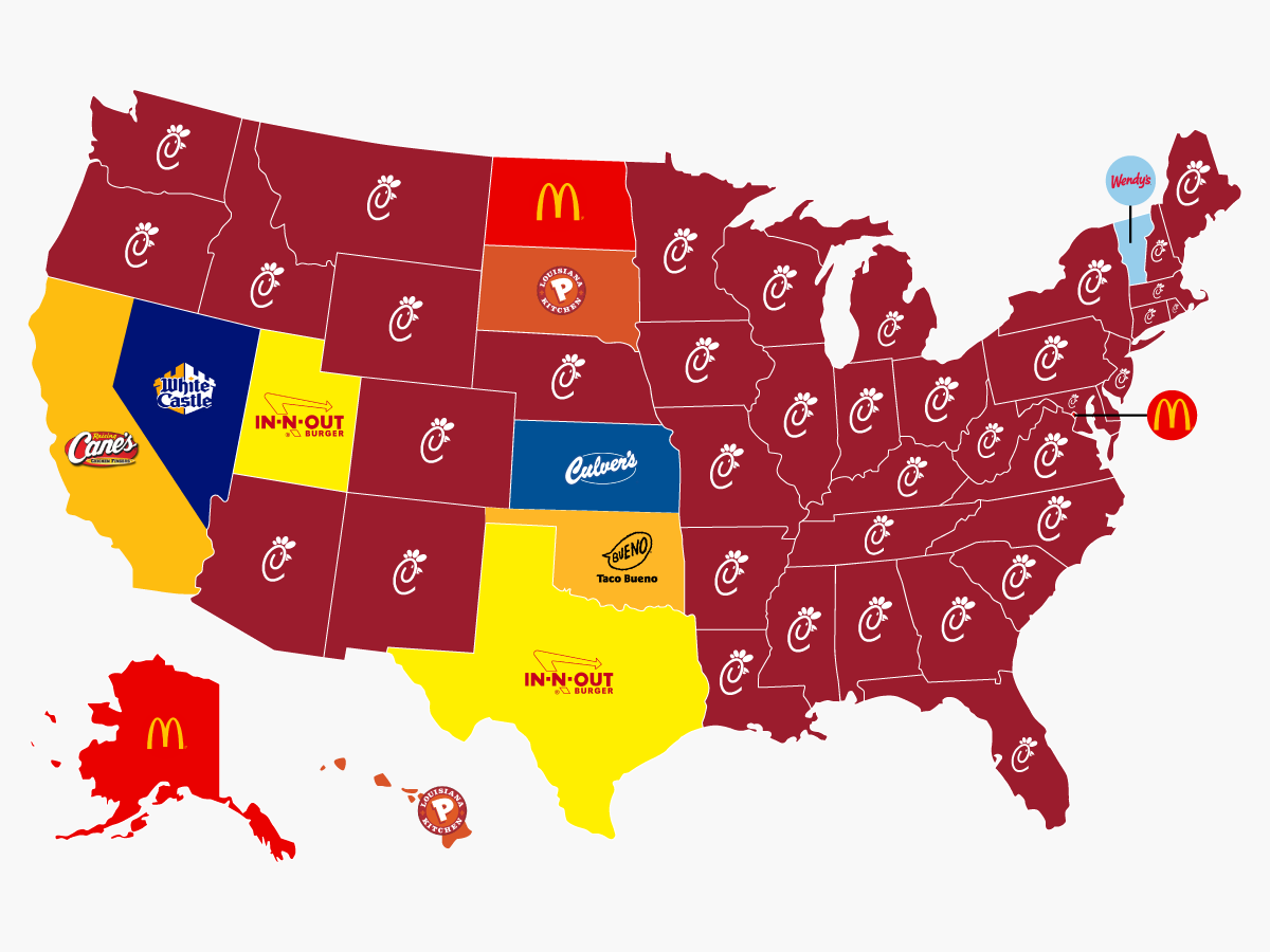 List of Each State's 'Most Popular' Fast Food Chain Creates Instant Backlash