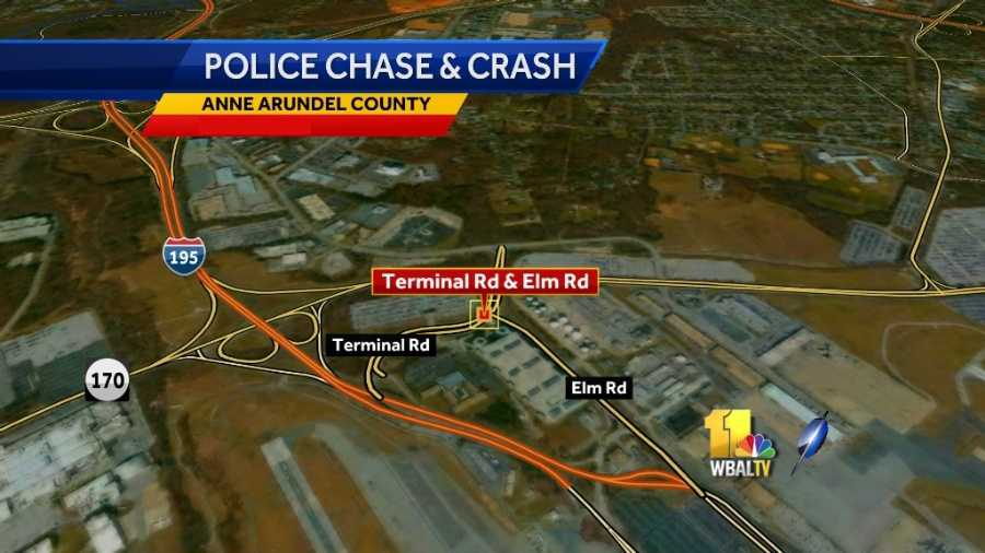 BWI police chase crash map
