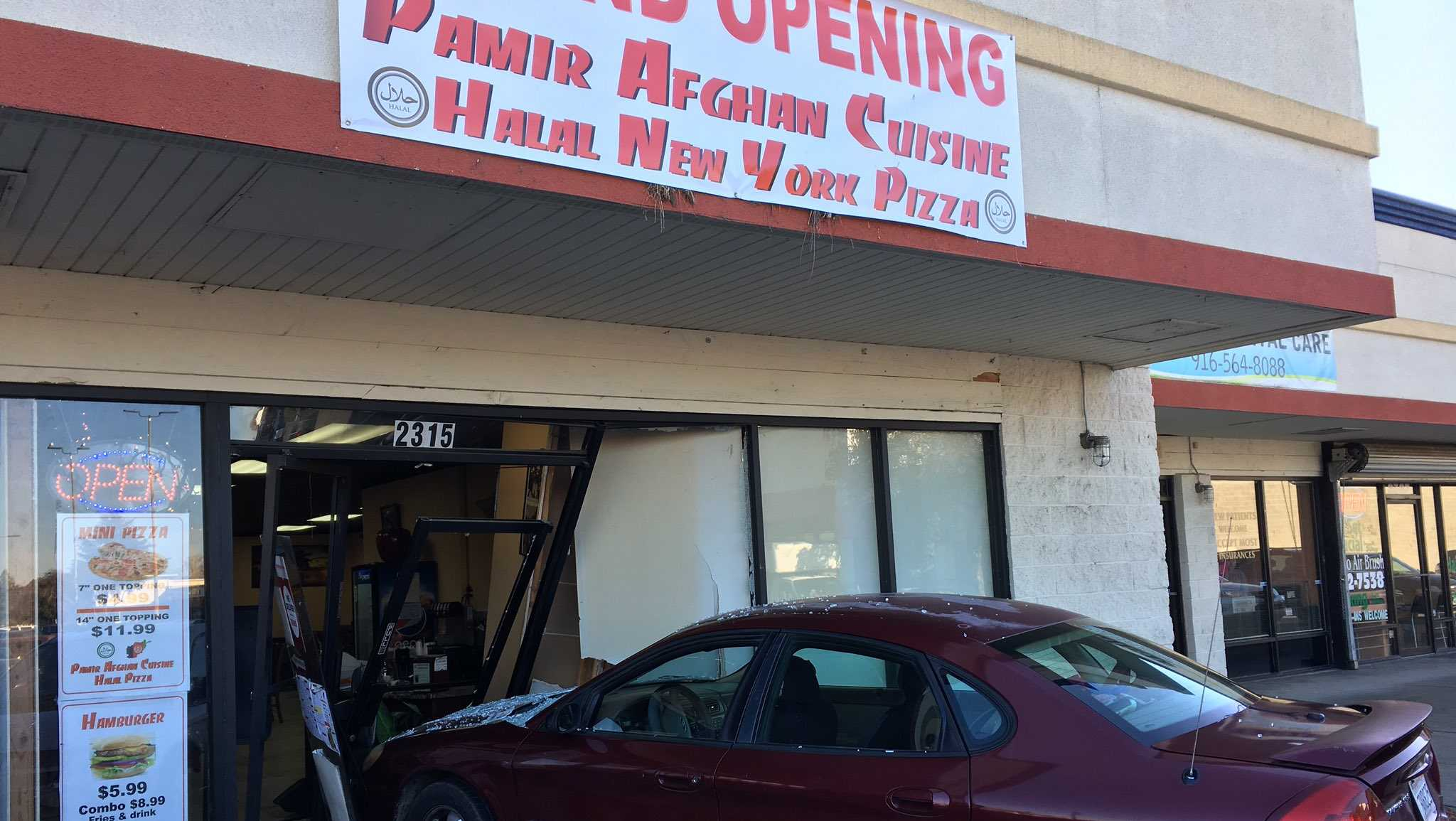 A car crashed into a Sacramento restaurant on Thursday, Dec. 29, 2016.