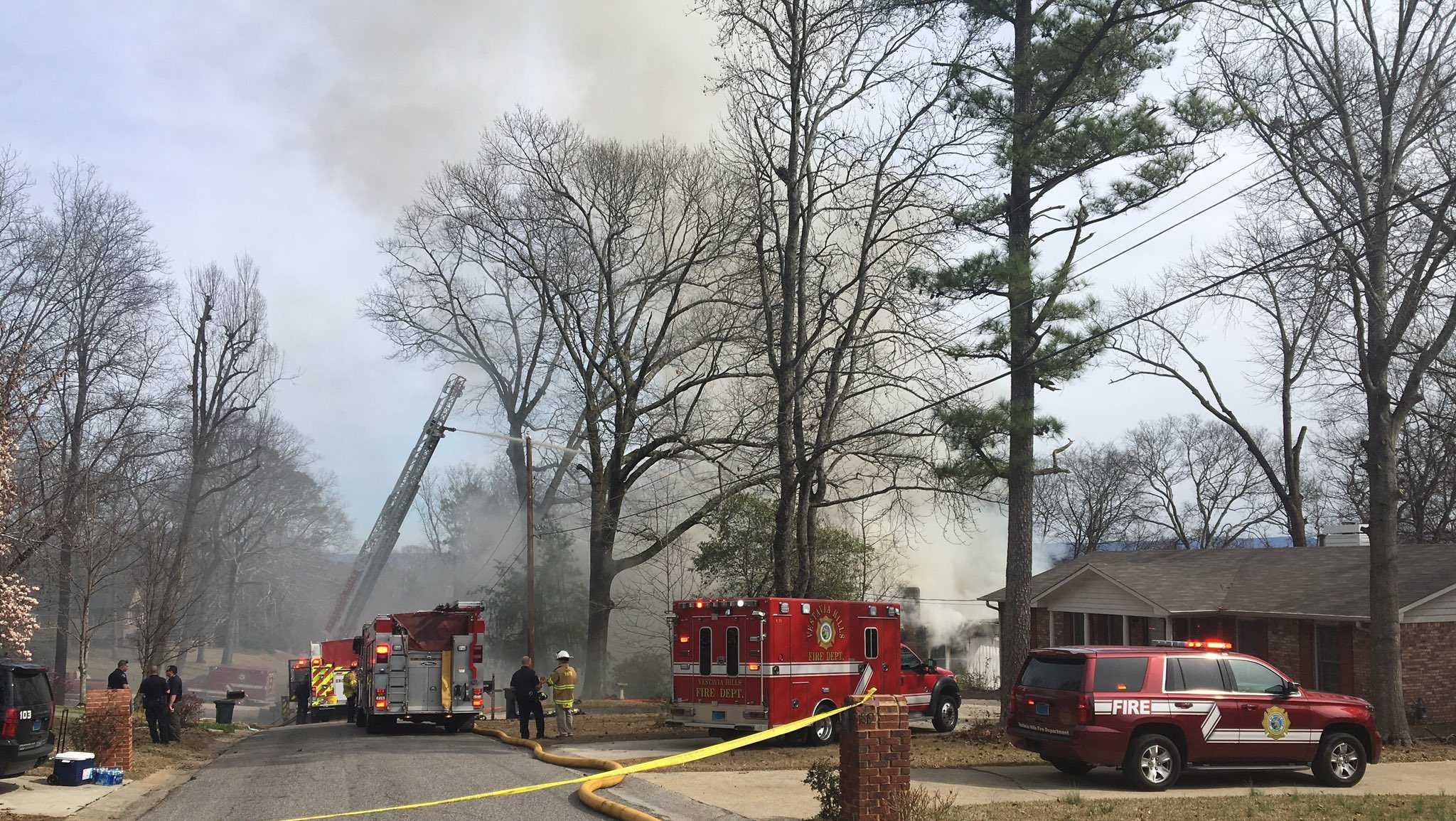 House fire on Nottingham Lane in Vestavia Hills, Friday, Feb. 17, 2017.
