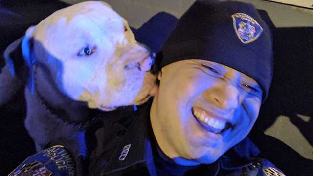 Officer Dinh receives kisses from dog