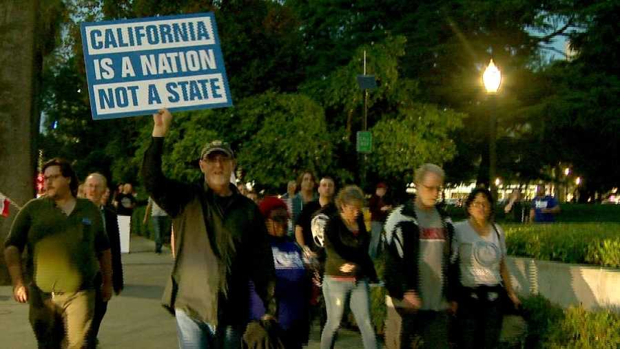 People marched on the state Capitol Wednesday, Nov. 9, 2016, urging Californians to secede from the U.S.