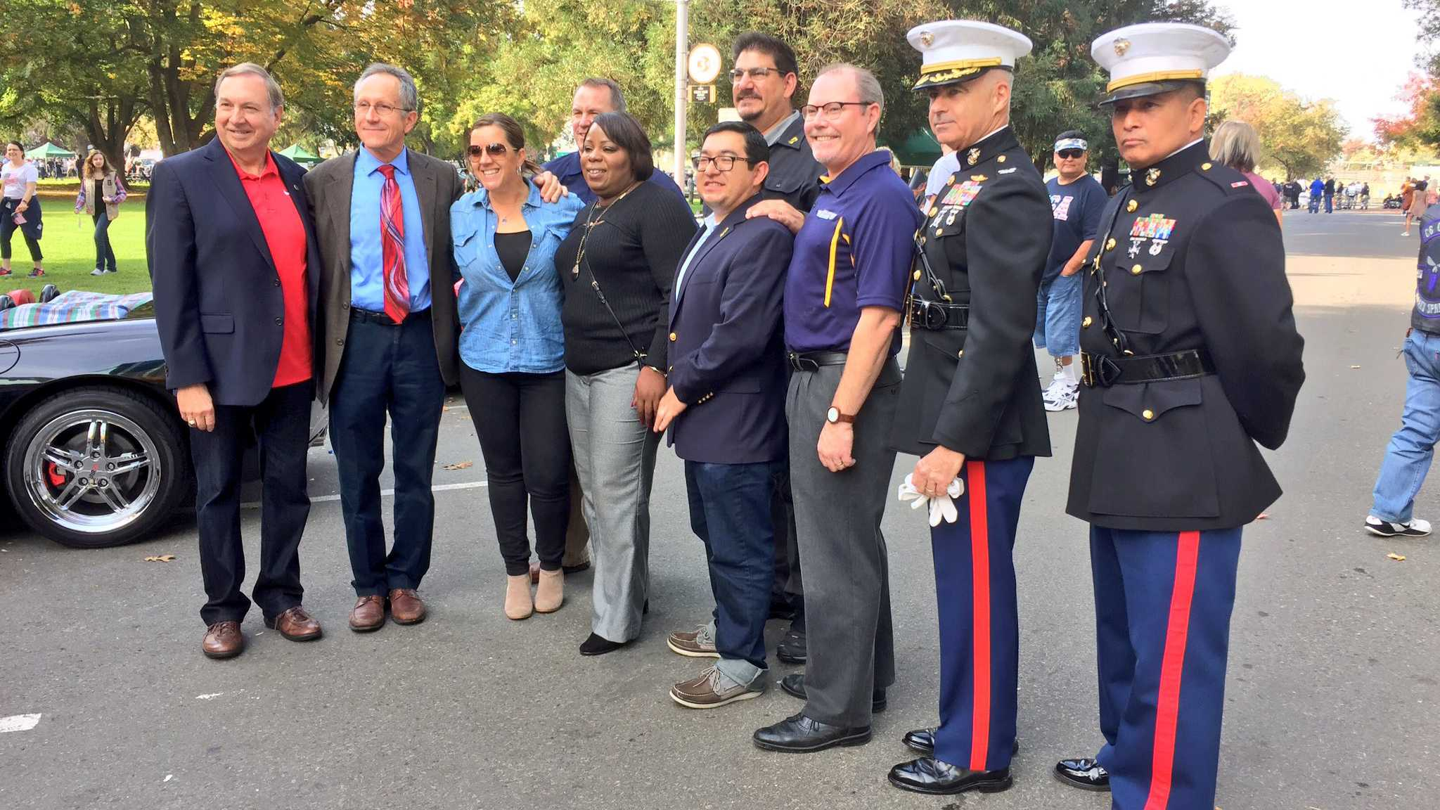 Navy Veteran Dr. Nicole Clavo, who lost her son JJ to gun violence last year, served as the Sacramento Veterans Day Parade Grand Marshall on Friday, Nov. 11, 2016.