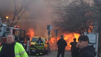 Cambridge fire seen from Berkshire St.