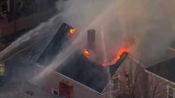 Cambridge fire seen from Sky5