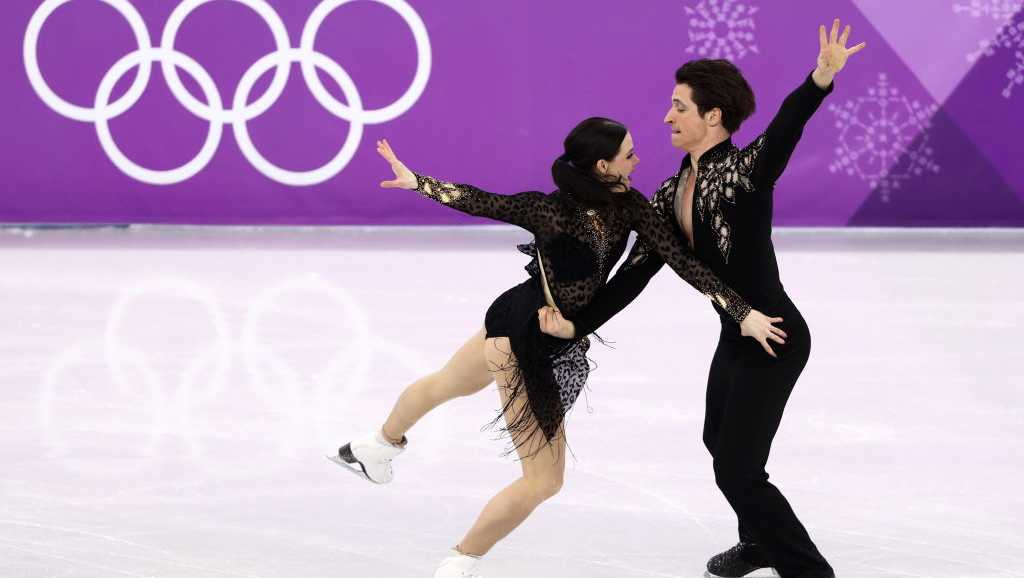 Ice dancers Tessa Virtue and Scott Moir of Canada perform their short dance during the figure skating competition on Feb. 19, 2018.