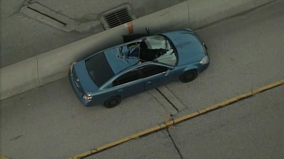 Tire slices through car in Menomonee Falls