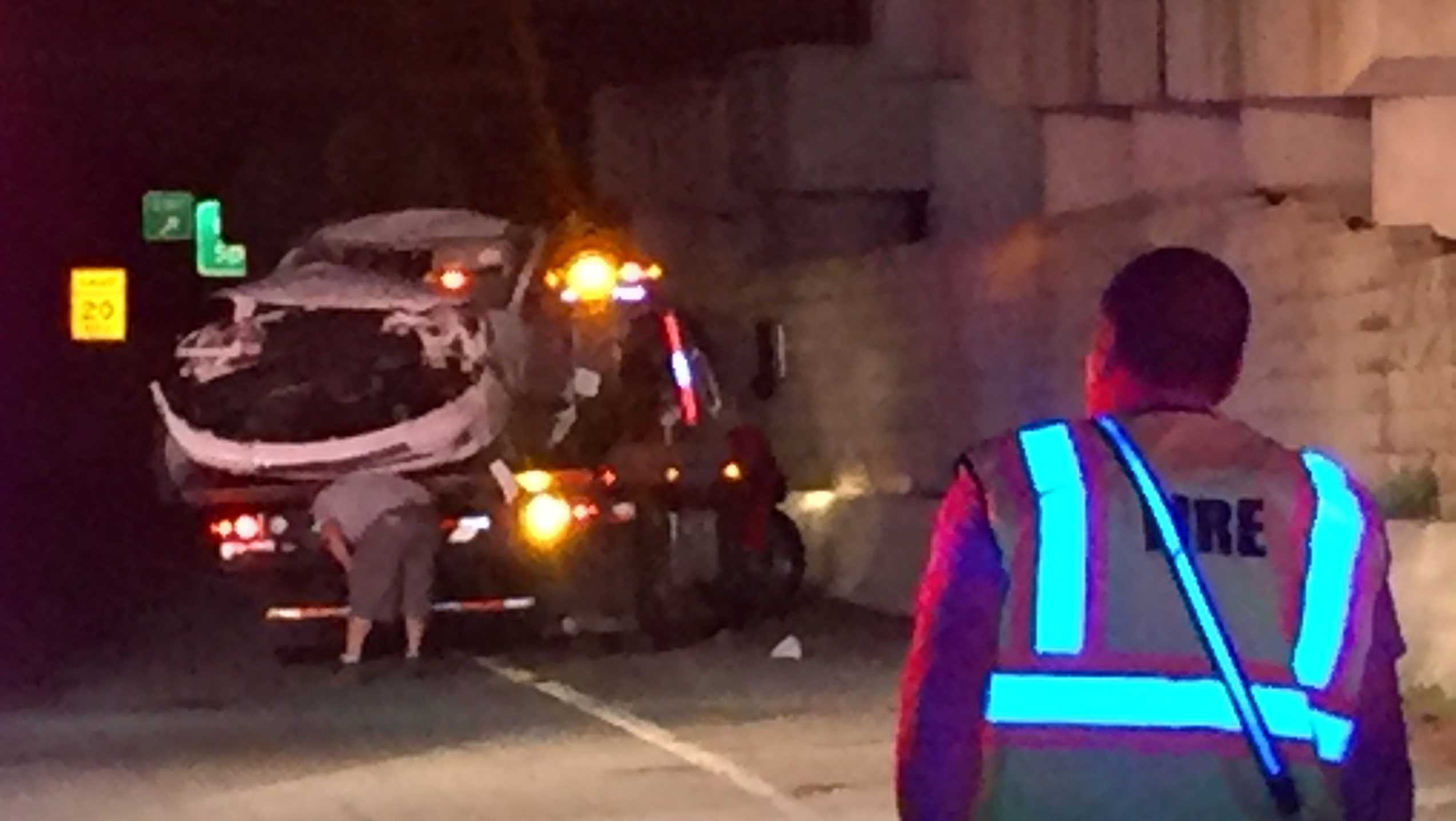 Car drives off I-385 bridge