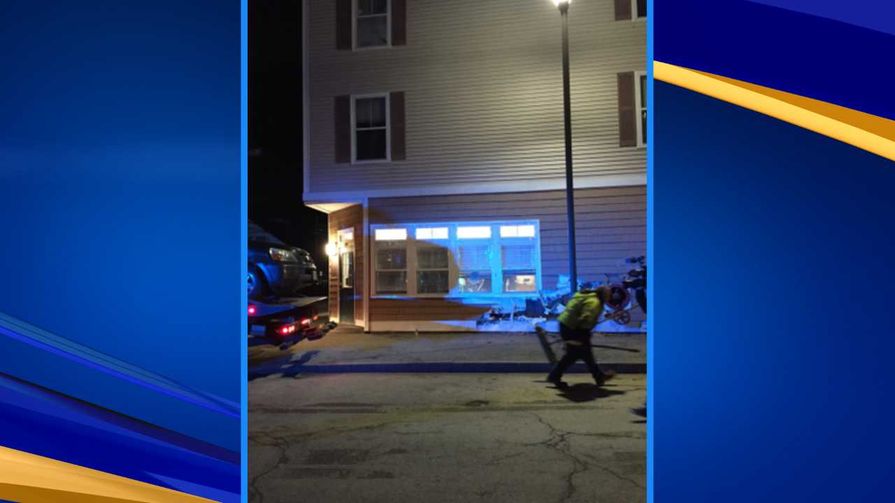 Car hits building due to hit-and-run