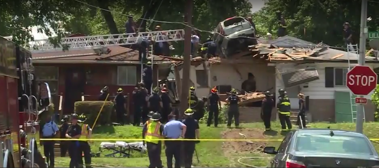 Wild Video Speeding Suv Lands On Roof Of Home