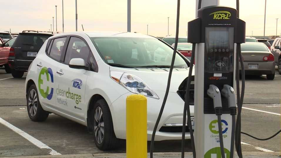 car charging stations at KCI Airport, electric cars