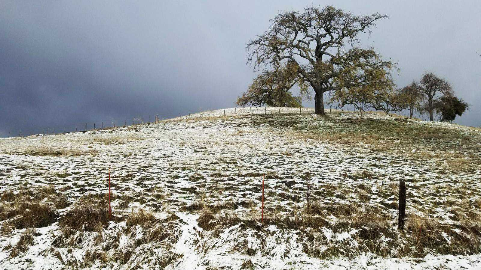 Snow seen along Carmel Valley Road
