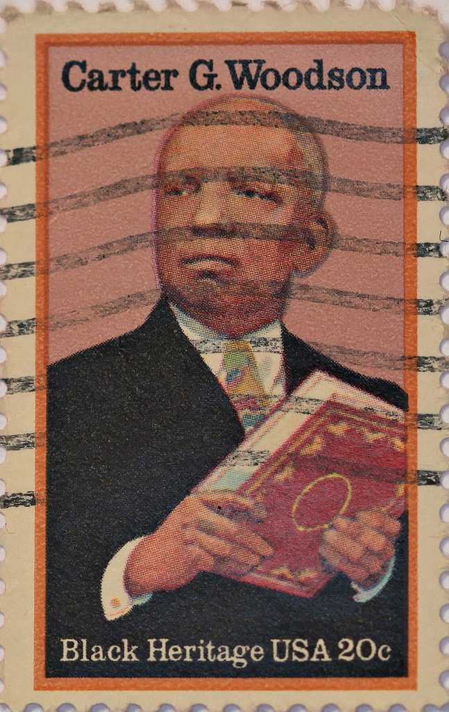 A stamp featuring African-American historian Carter G. Woodson.