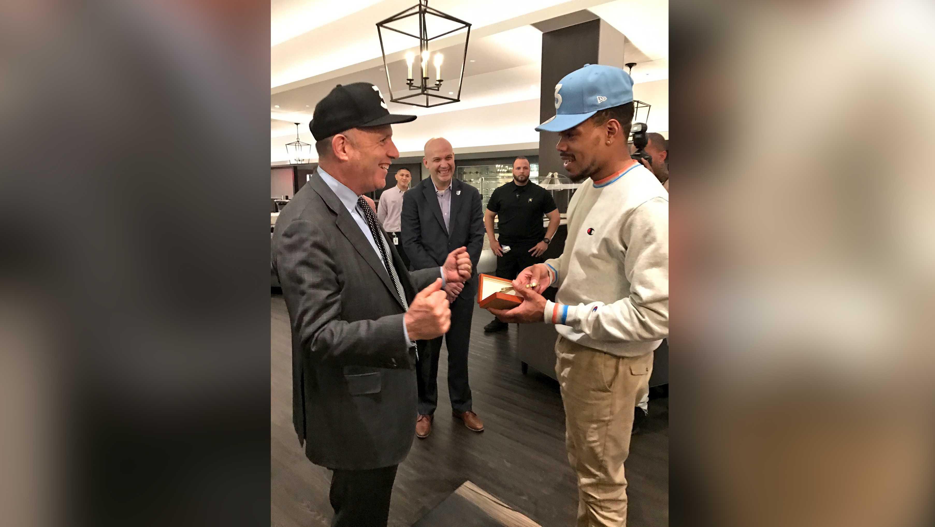 Sacramento Mayor Darrell Steinberg gave Chance the Rapper a key to the city on Thursday, April 27, 2017.