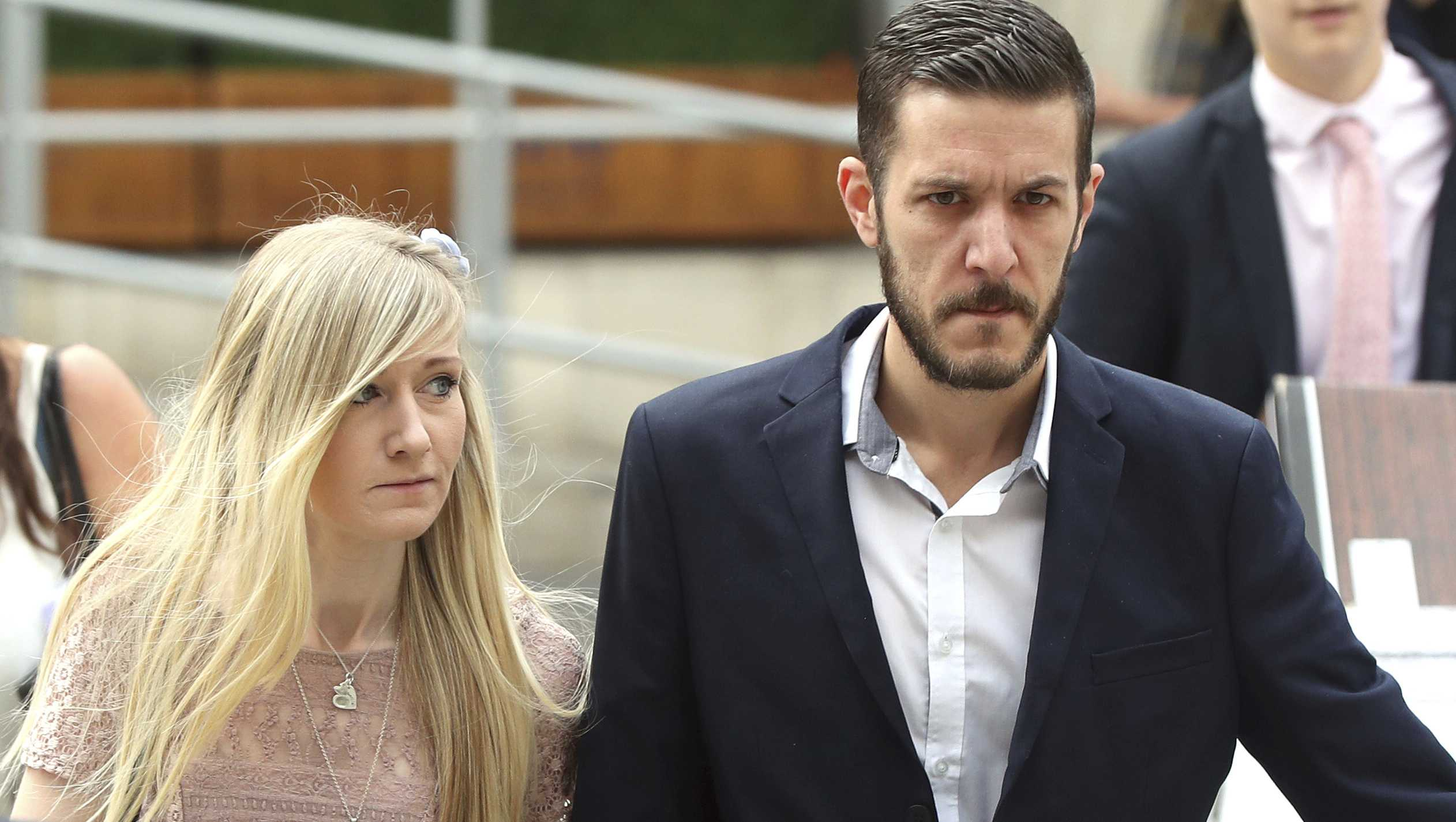 The parents of critically ill baby Charlie Gard, Connie Yates and Chris Gard arrive at the Royal Courts of Justice in London. Thursday July 13, 2017.