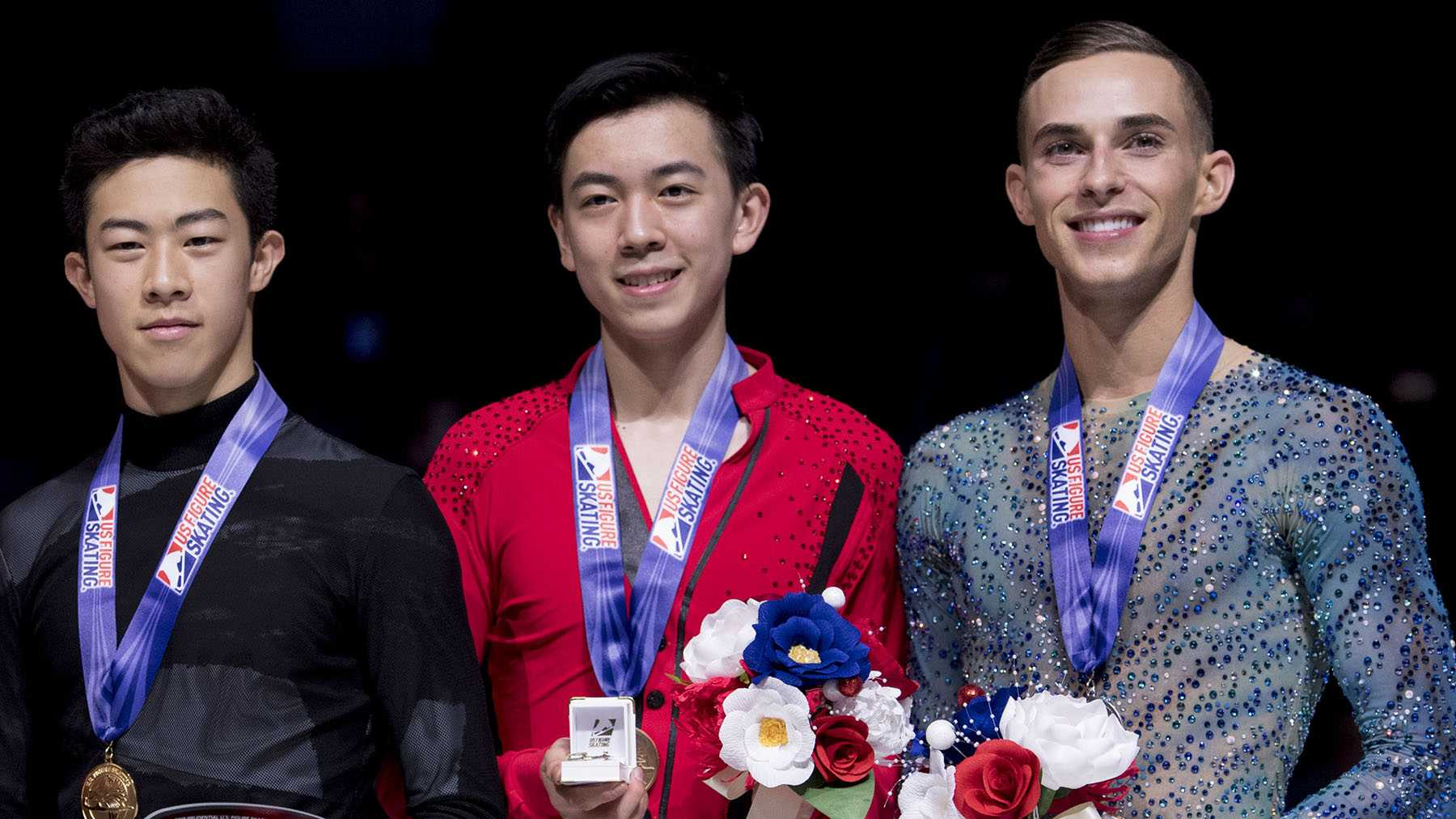January 6, 2018&#x3B; San Jose, CA, USA&#x3B; (L-R) Second place Ross Miner, first place Nathan Chen, third place Vincent Zhou, and fourth place Adam Rippon pose for a photo after the men's free skate program during the 2018 U.S. Figure Skating Championships at SAP Center. Mandatory Credit: Kyle Terada-USA TODAY Sports