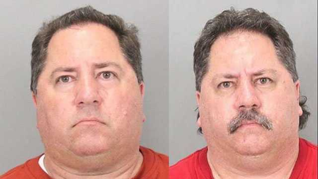 Clifford Pappadakis (left), 47, was arrested Feb. 14 on charges of possession of child pornography. Clinton Pappadakis (right), Clifford's twin, was booked into Santa Clara County Jail Feb. 20 on charges of possession of child pornography.