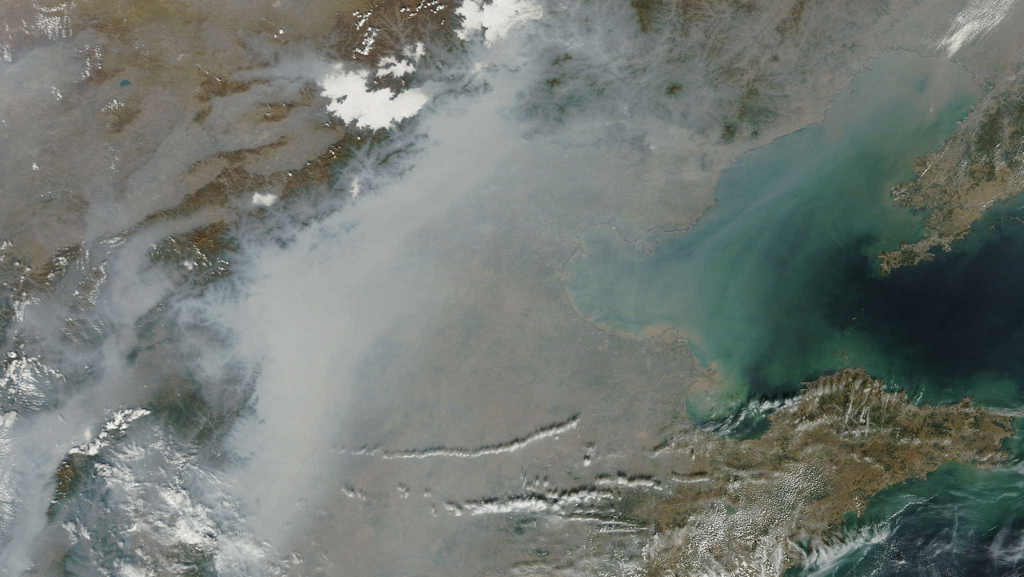 Pollution over China is seen from space