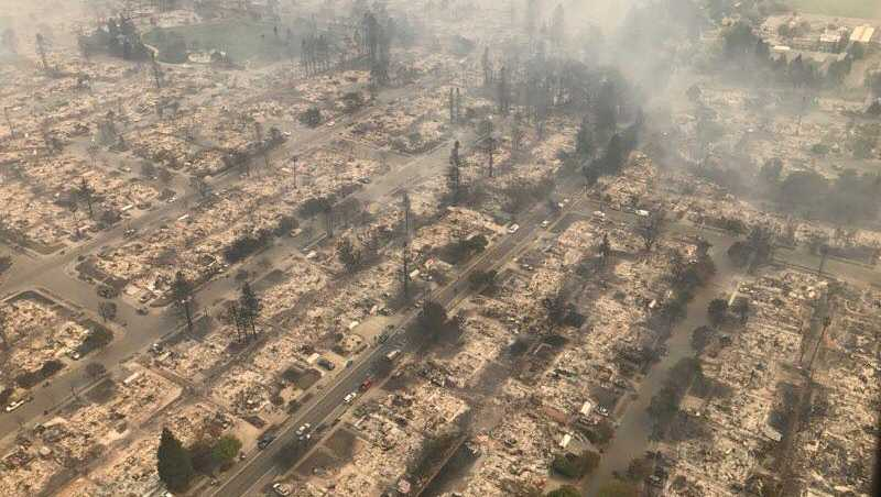 The Coffey Park neighborhood in Santa Rosa was leveled by a wildfire that quickly swept through the area on Monday, Oct. 9, 2017.