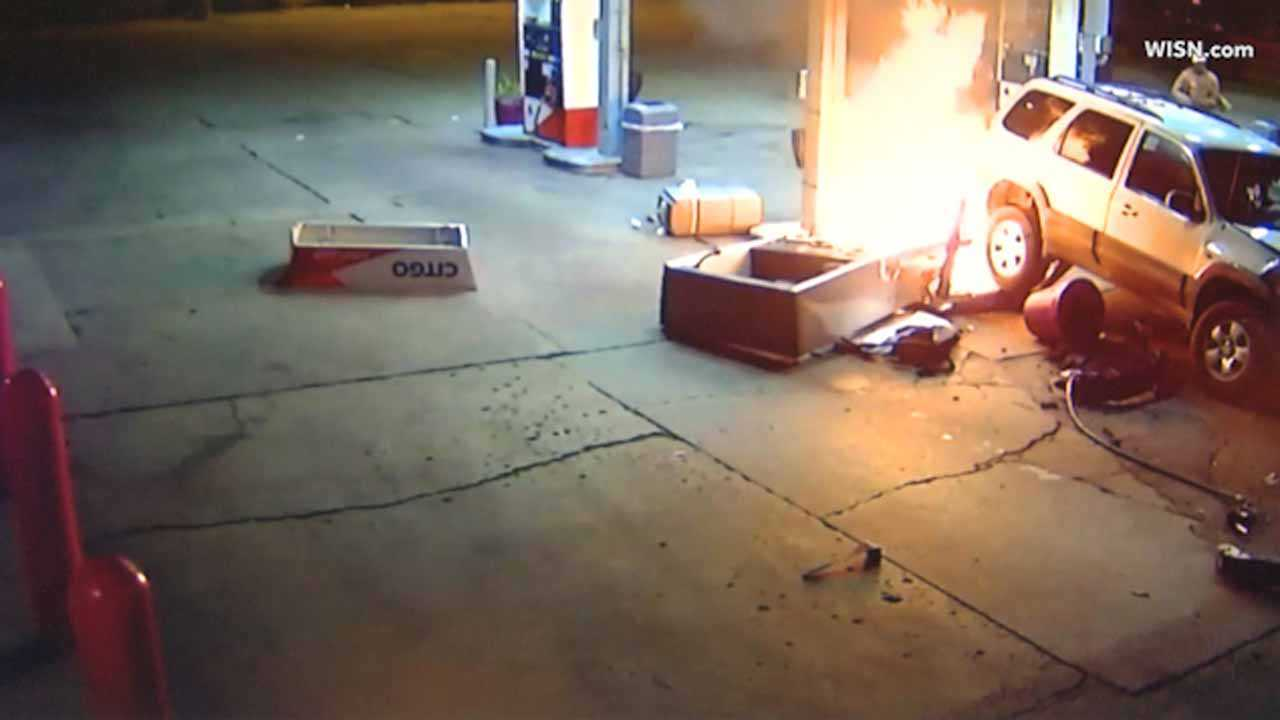 Surveillance shows crash, fire at Milwaukee gas station