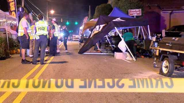 A car crashed through a barricade at Clayton festival. Three people were hurt.
