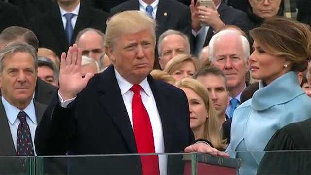 Donald Trump takes oath of office to become the 45th President of the United States of America.