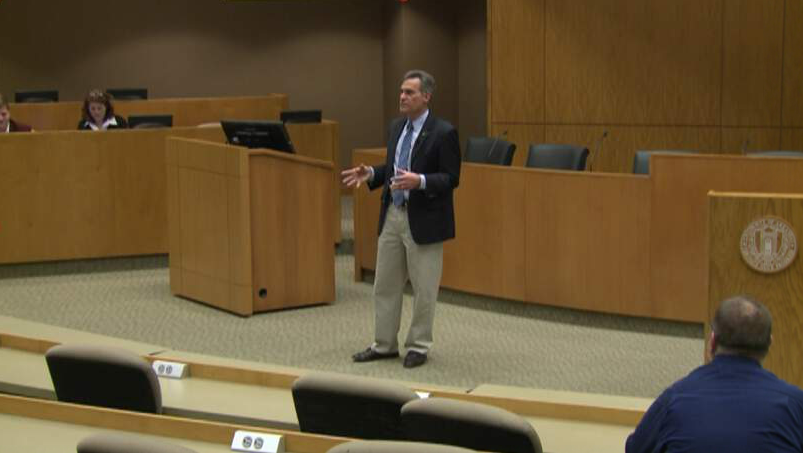 State Rep. Charlie Collins at a town hall held at the University of Arkansas on Feb. 10, 2017