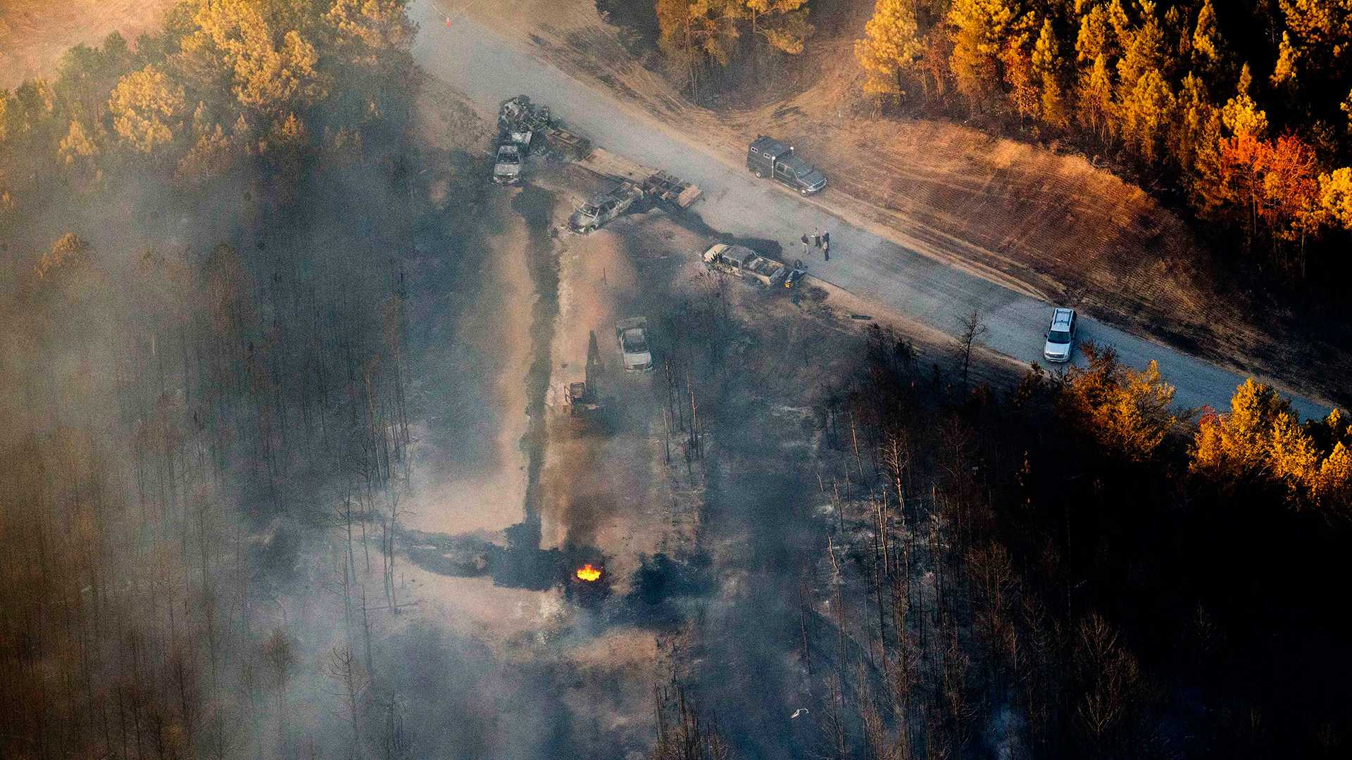 A flame remained visible days after a deadly explosion on the Colonial Pipeline in Alabama.
