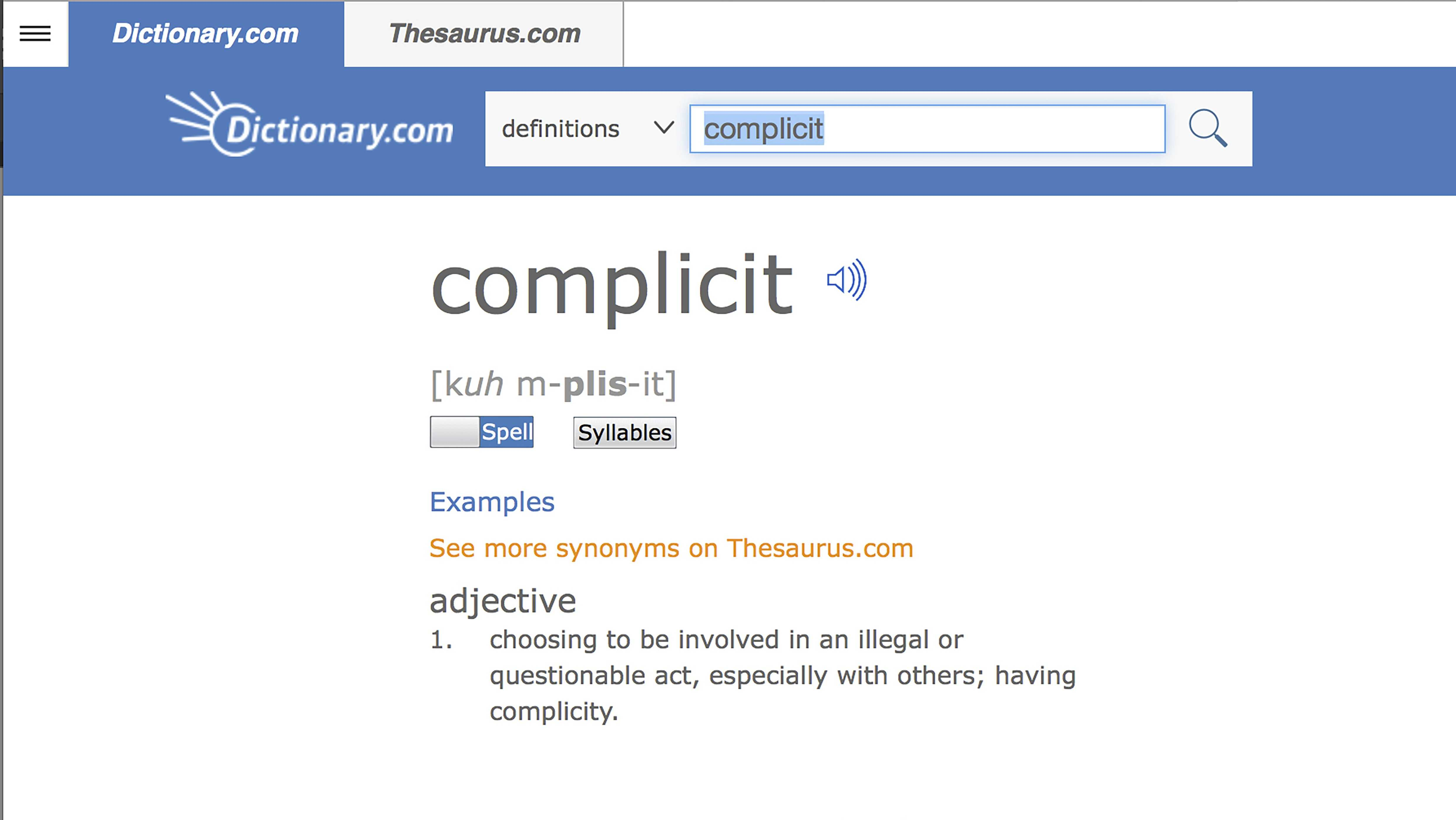 Dictionary.com's 2017 Word of the Year - 'complicit'