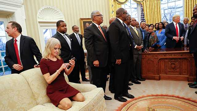 Kellyanne Conway on White House couch