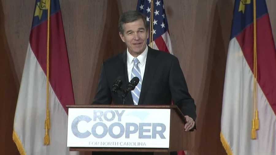Governor-elect Roy Cooper gives a victory speech nearly a month after election night. Pat McCrory conceded the day before this speech.