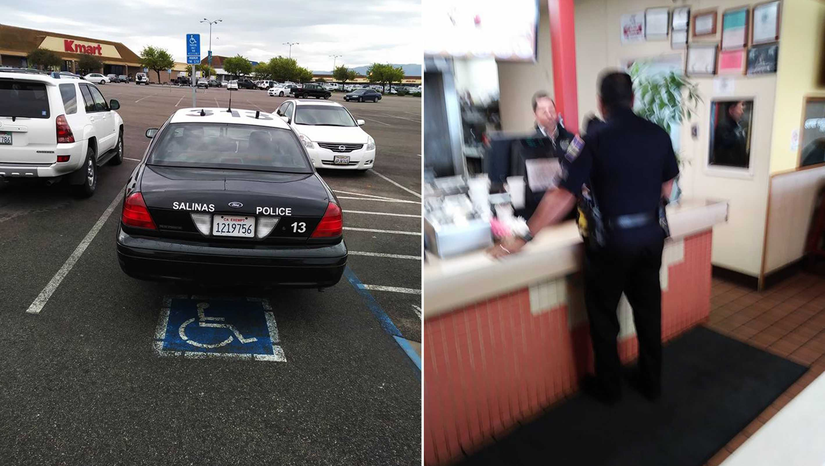 Salinas police car in handicap spot
