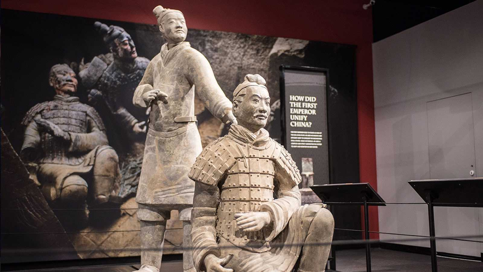 Terra-cotta warriors on display at Philadelphia's Franklin Institute.