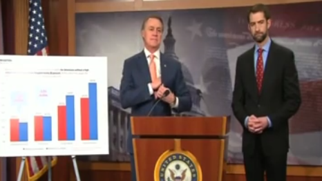 Sen. David Perdue and Sen. Tom Cotton introduce new immigration legislation in a news conference Tuesday morning