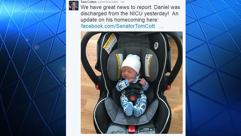 Sen. Tom Cotton's son was discharged from the NICU.