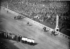 Count Fleet, with jockey John Longden up, crosses the finish line to win the 69th running of the Kentucky Derby at Churchill Downs in Louisville, Ky., May 1, 1943.