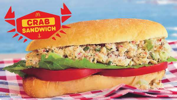 McDonald's snow crab meat sandwich