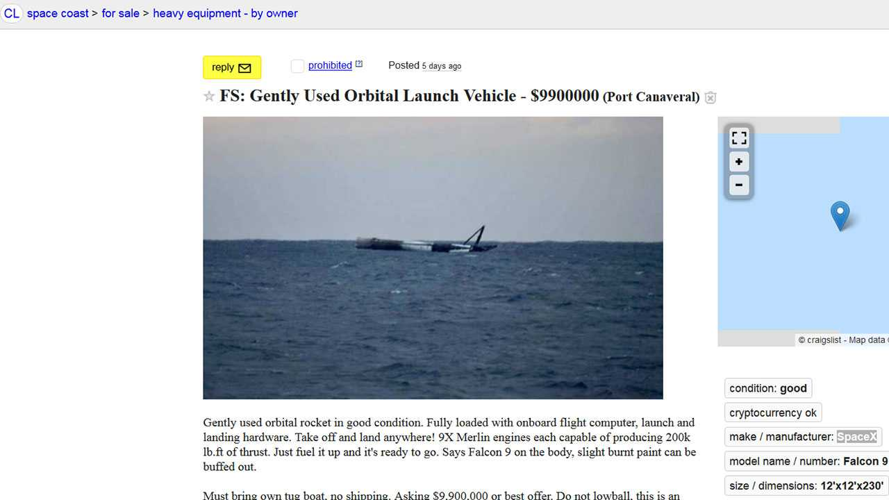 Craigslist Norman Ok >> Craigslist User Selling Gently Used Spacex Rocket Oklahoma City