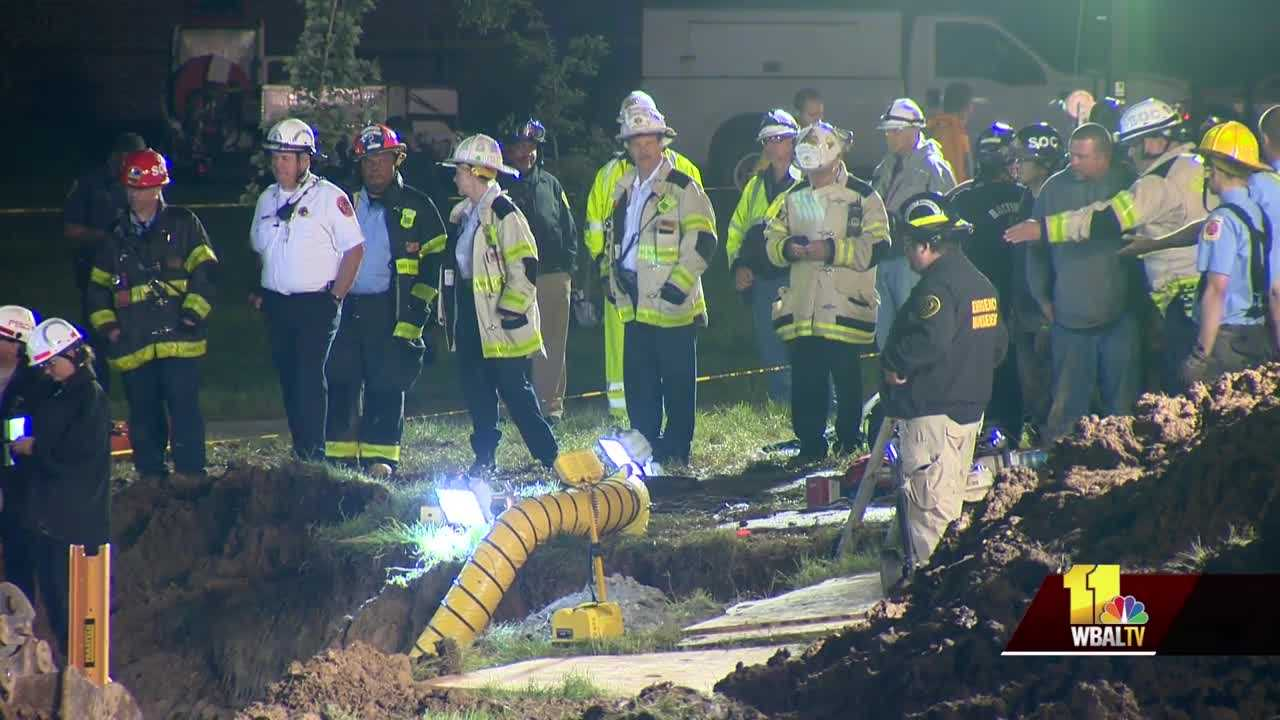 Crews at trench collapse