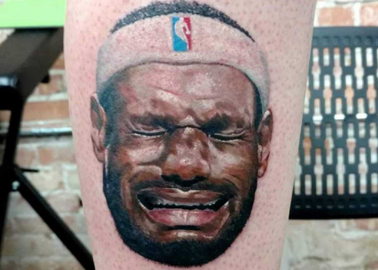 Man gets crying LeBron James tattoo on leg
