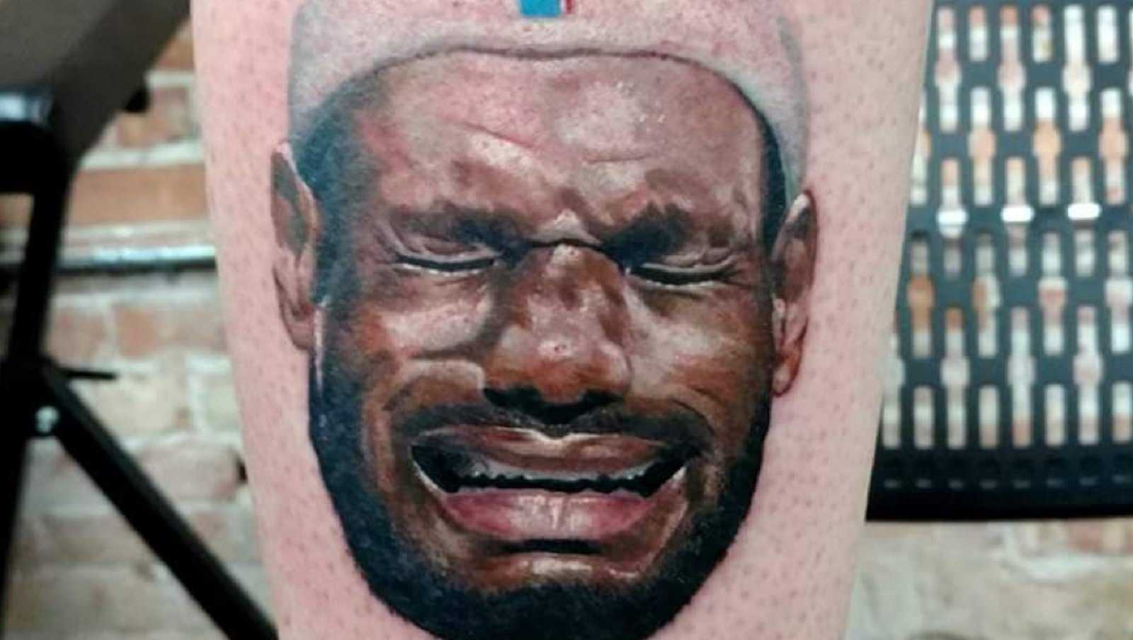 Kalen Gilleese, took his disdain for LeBron James to the next level by tattooing LeBron's crying face on his leg.