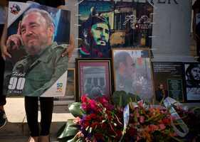 Flowers and photos of Fidel Castro in Havana.