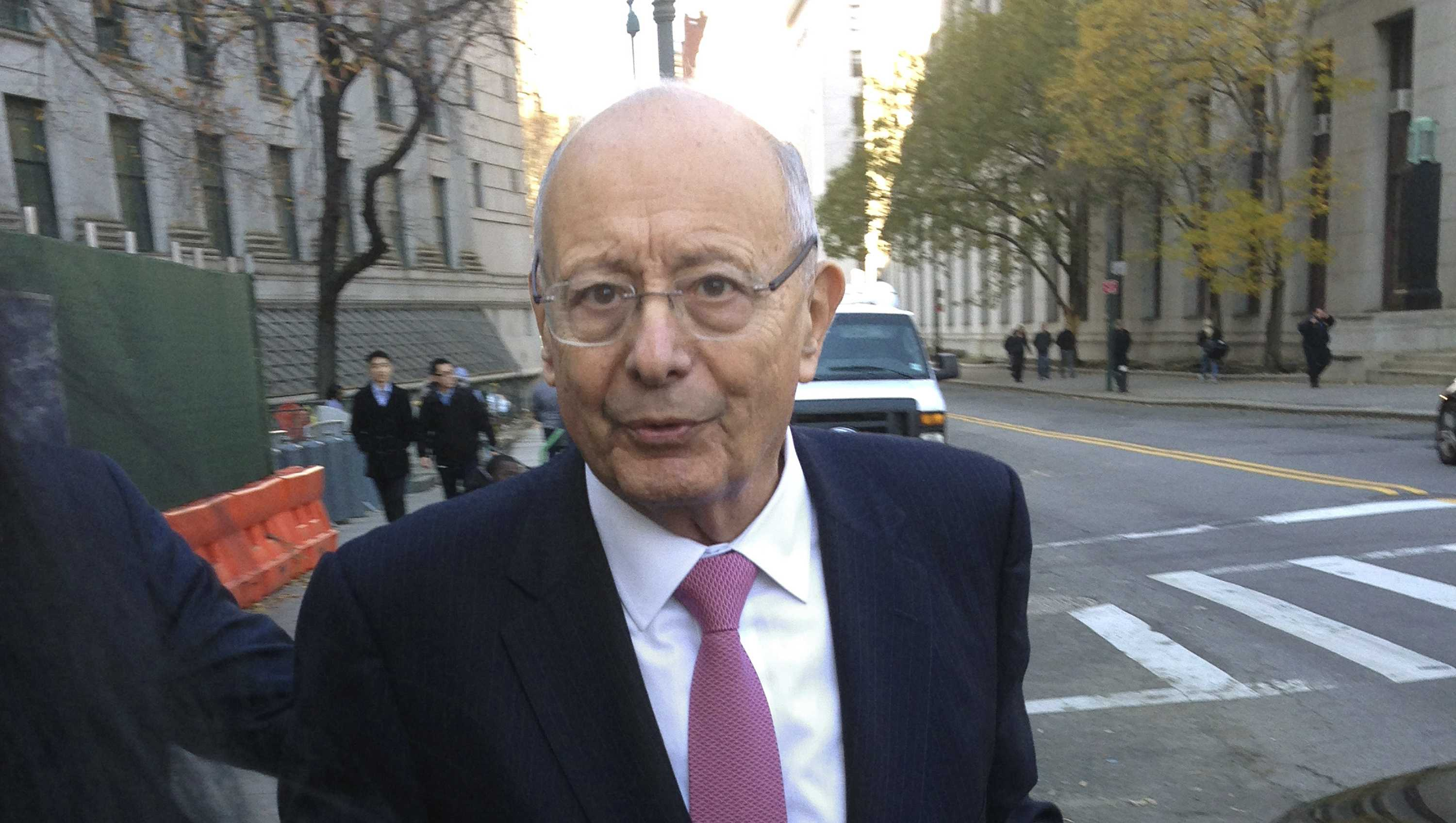 In a Friday, Dec. 4, 2015 file photo, former U.S. Sen. Alfonse D'Amato leaves Manhattan federal court in New York.